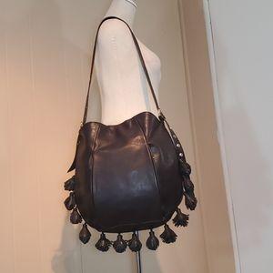 Cynthia Rowley Black Hobo Pom-Pom Leather Bag